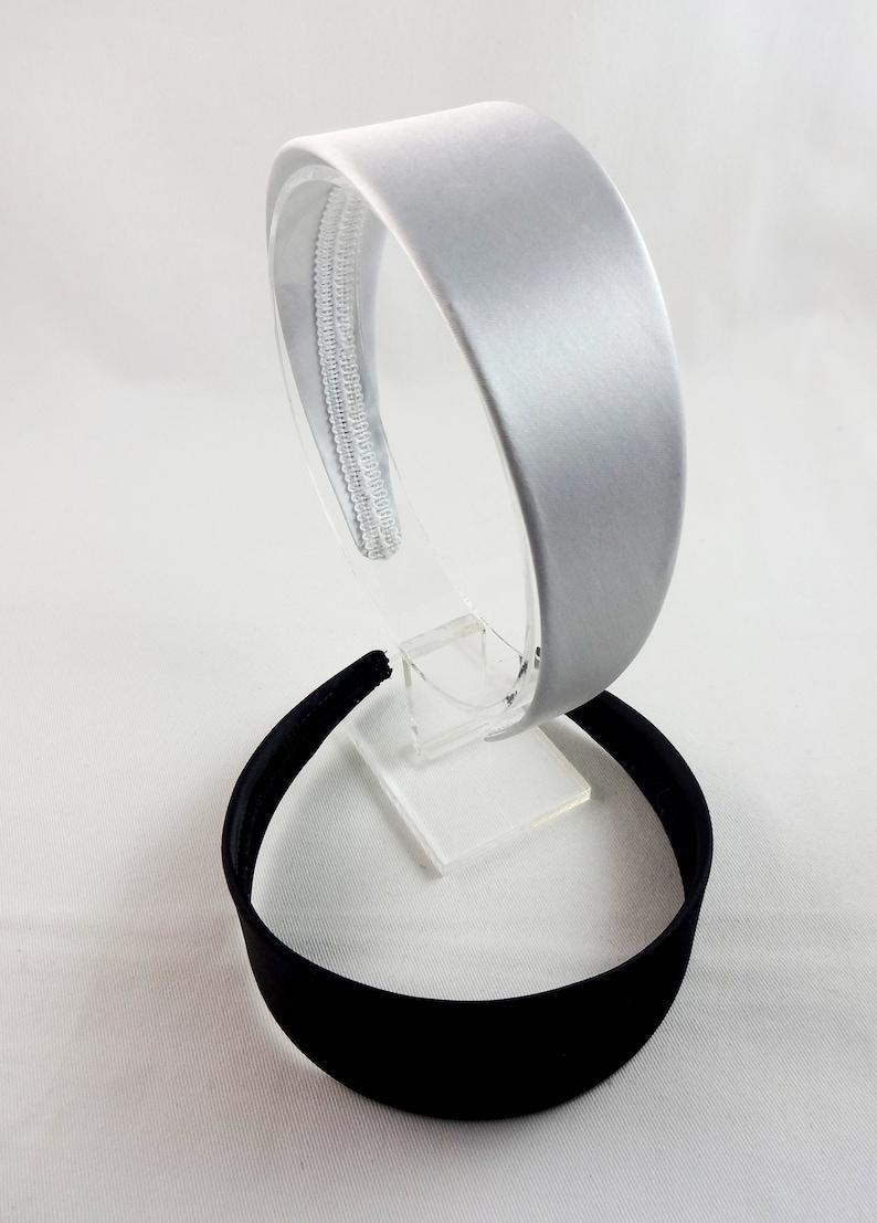 Black /& Light Silver Satin-Like Fabric Covered Headbands Set Of Two 1.75 Inch Wide Headband Blanks.