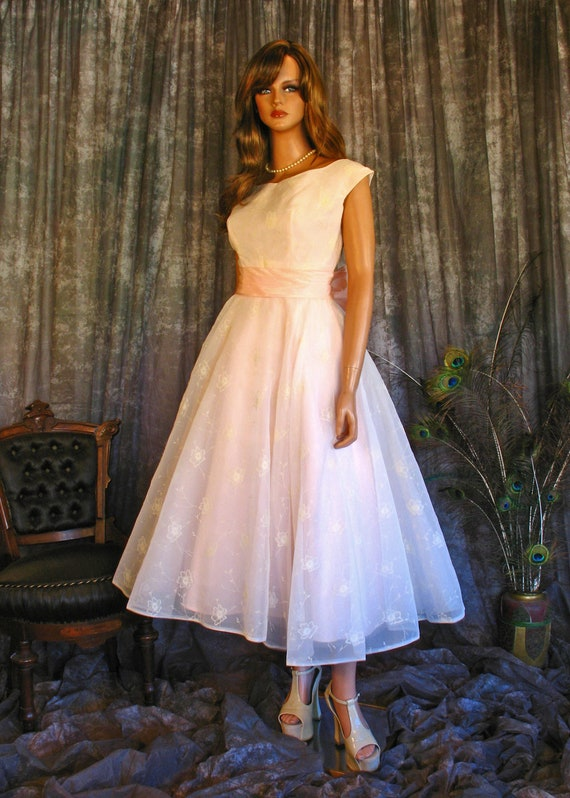 Vintage 50s Floral Flocked Chiffon Gown / 50s Fit
