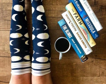 Moon Phases Knee Socks,  Lingerie Unique Gifts, Celestial Moon Phases Design, Metaphysical Witchy Bookish Night Sky Navy Blue, Gift PM-125