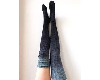 83d35acb4 Birthday Gift Dip Dye Ombre Thigh High Socks Black and Grey Romantic Goth  Lingerie Stockings for Her Wife Girlfriend Boho Festival Clothing