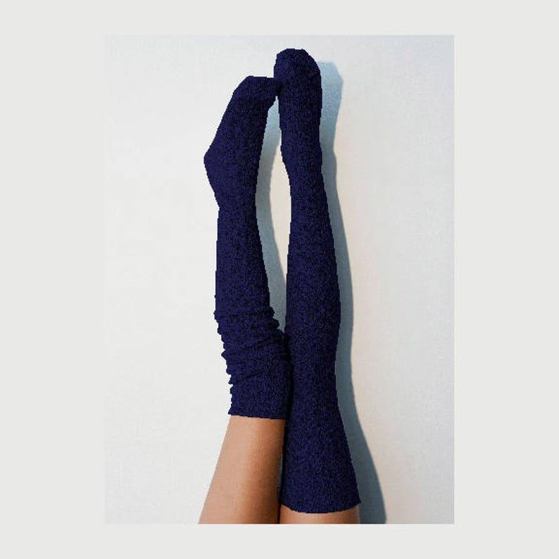 f721957401c Thigh High Socks Navy Sweater Socks Women s Long Over