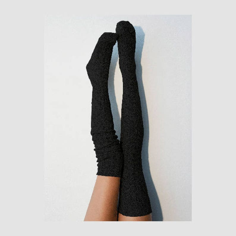 6b17c5ea748 Thigh High Socks Black Knee High Socks Women s Long Over