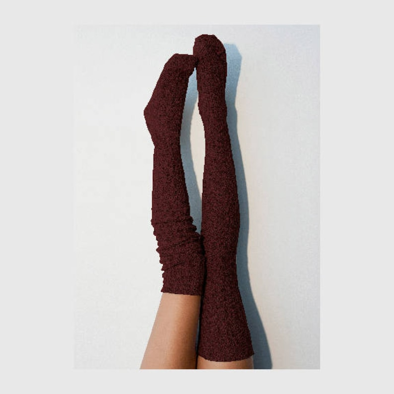 e2b06376c3b Thigh High Socks Dark Red Wine Sweater Knit Women s Long