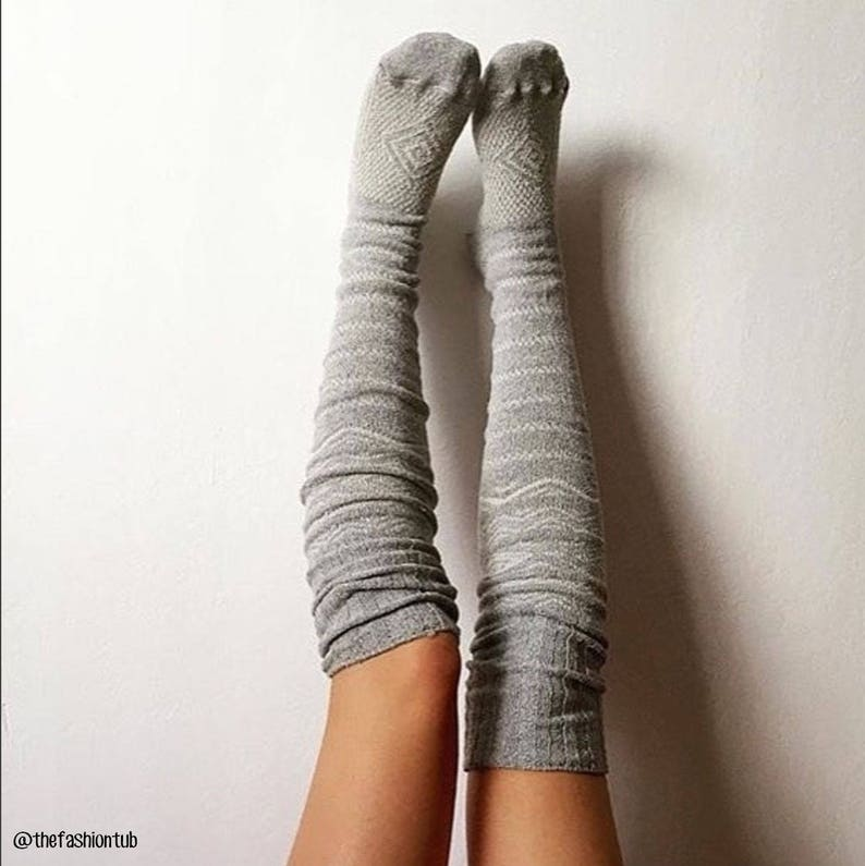 489202c79ba Thigh High Socks Grey Sweater Socks Women s Long Over
