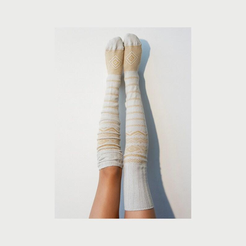 1e90b7ece9e Thigh High Socks White Sweater Socks Women s Long Over