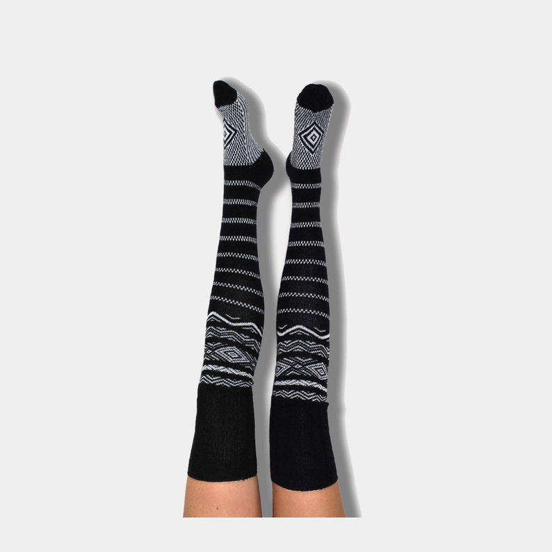 ed61aff8b0d Thigh High Socks Black Striped Tall Knee High Socks