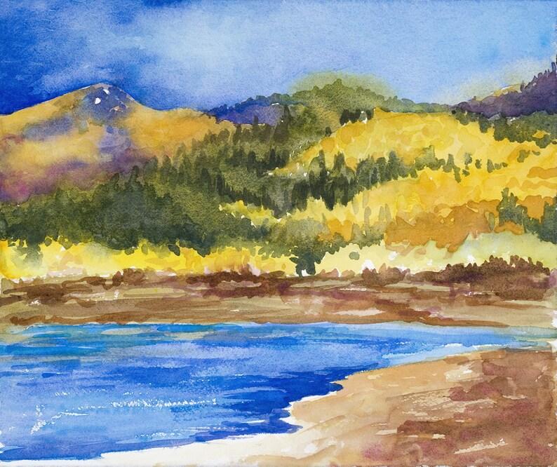 Wall Art Prints watercolor  landscape Mountains Watercolor image 0