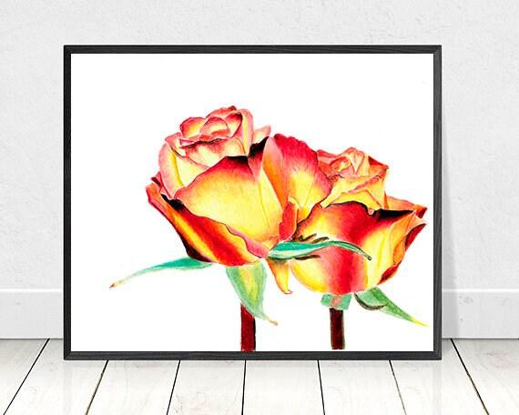 Couleur Rose Rouge Jaune Crayon Dessin Home Decor Wall Art Décor De Chambre De Filles Cadeau Pour Elle