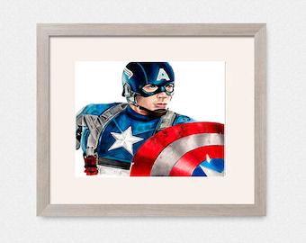Captain America Colored Pencil Art Print