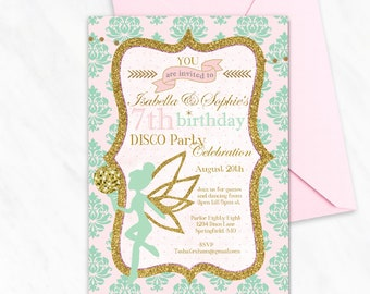 Shabby chic invites etsy disco party birthday invitation fairy disco party mint pink gold fairy girl birthday shabby chic invites bridal baby shower invite filmwisefo