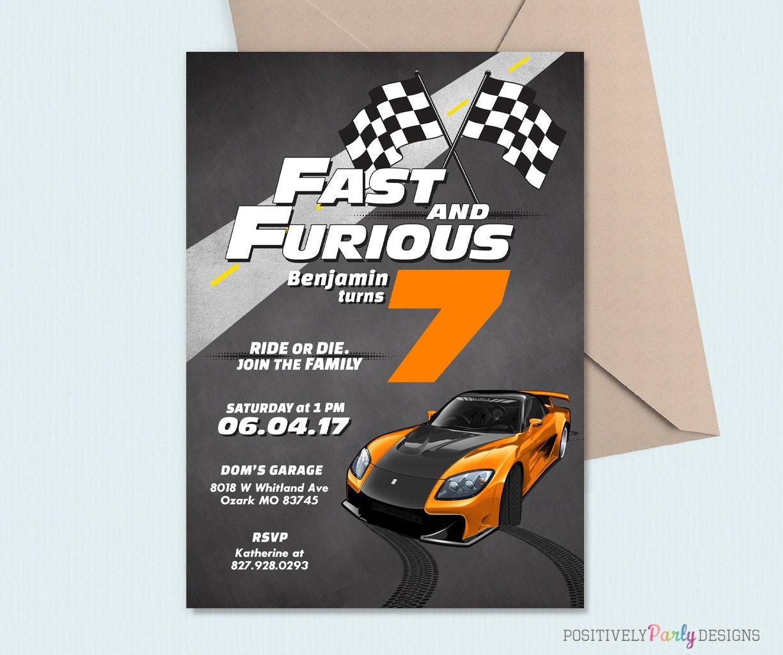 Race Car Fast And Furious Birthday Invitation Boy Birthday
