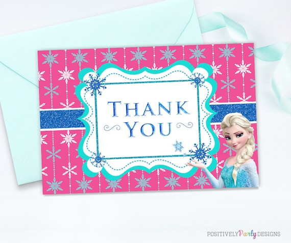 Frozen Elsa Thank You Card Happy Birthday Thank You Disney Etsy