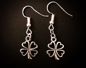 Silver Irish Four Leaf Clover Dangle Hook Earrings