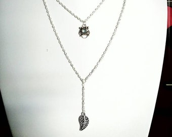 Double necklace with silver pendant