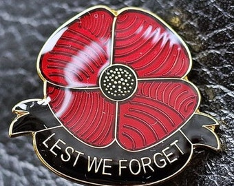New Beautiful Glossy Red Poppy Pin Badge UK Lest We Forget Remembrance day 2021