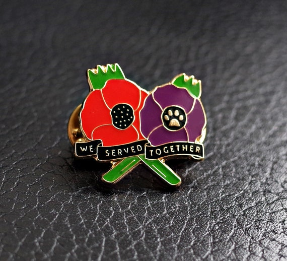 best badge We served together Animals in war/… UK STOCK PURPLE POPPY ENAMEL PIN BADGE BROOCH THE LEAST WE FORGET