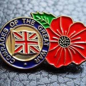 5 x UK Military Veteran Soldier Ribbon Hero Red Poppy Enamel Pin Badge Brooch