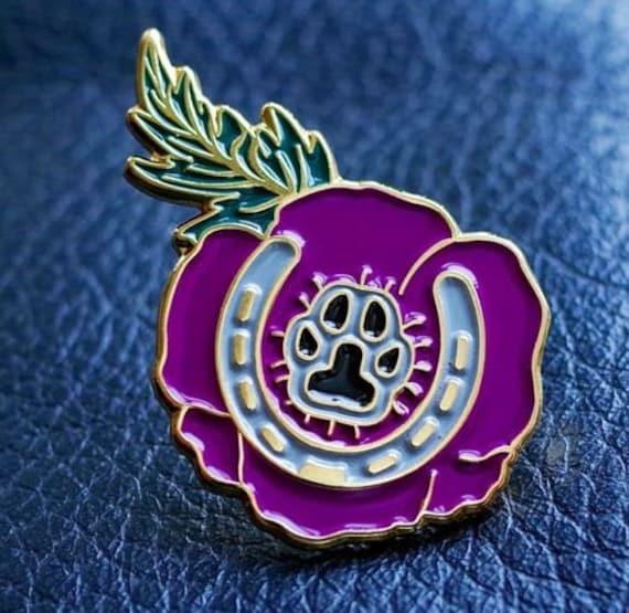 NEW Mini 2019 Purple Poppy /'Animals Of War/' Charity Lapel Badge Pin Brooch