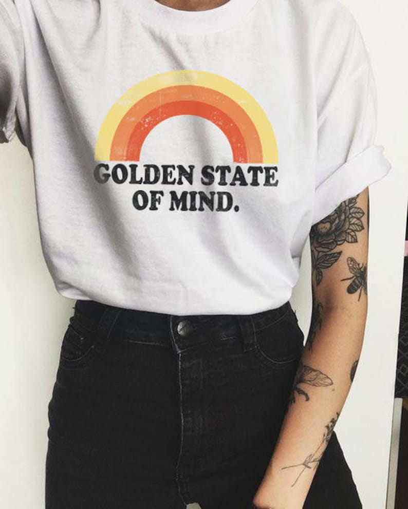 069c72032 Golden Shirt Rainbow shirt Vintage tee Hipster Clothing | Etsy