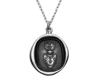 Double Wings Crest Protection Wax Seal Pendant