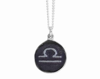 Libra Zodiac Symbol Coin Pendant
