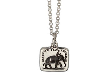 POWER OF REASON- Elephant and Aspen Leaf- Double Sided Intaglio Pendant