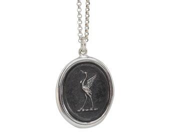 Lucky Crane Wax Seal Pendant