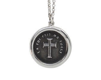 Faith is My Strength- Medieval Cross Wax Seal Pendant