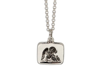 PATERNAL LOVE- Swan and Babies- Double Sided Intaglio Charm Pendant