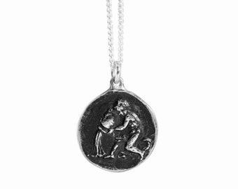 Aquarius Zodiac Coin Pendant
