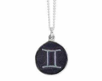 Gemini Zodiac Symbol Coin Pendant