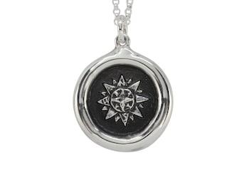Compass Rose Wax Seal Pendant