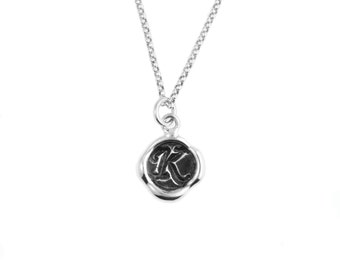 Petite Inital Wax Seal Pendant- Sterling Silver Personalized Custom Necklace