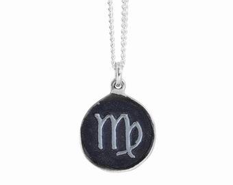 Virgo Zodiac Symbol Coin Pendant