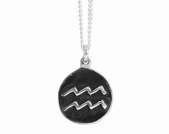 Aquarius Zodiac Symbol Coin Pendant