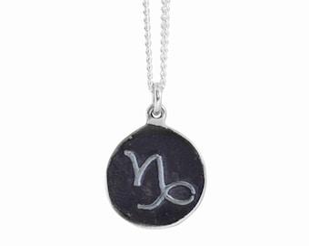 Capricorn Zodiac Symbol Coin Pendant