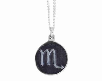 Scorpio Zodiac Symbol Coin Pendant