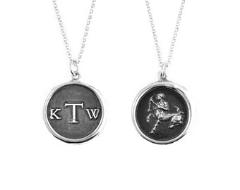"""Three Letter Monogram & Zodiac """"Double-Sided"""" Wax Seal Pendant- Sterling Silver Personalized Custom Necklace"""