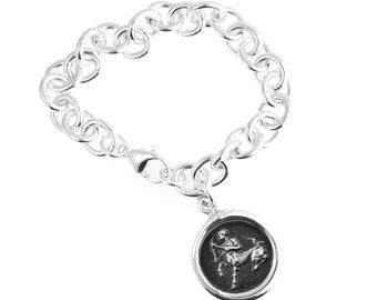 Zodiac Wax Seal Cable Bracelet- Sterling Silver Zodiac Charm Bracelet