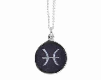 Pisces Zodiac Symbol Coin Pendant