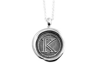 Garamond Initial Wax Seal Pendant- Sterling Silver Personalized Custom Necklace