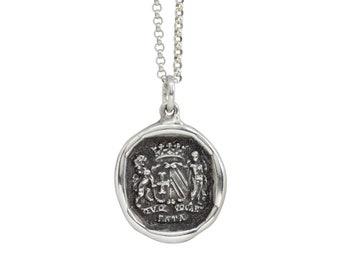 WHEREVER FATE CALLS- Wax Seal Heraldic Crest Pendant