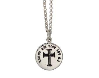 FAITH IS STRENGTH- Medieval Cross- Double Sided Intaglio Pendant