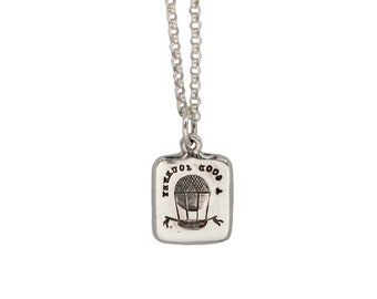 TRAVEL CURES IGNORANCE- Hot Air Balloon and Oak Tree- Double Sided Intaglio Pendant