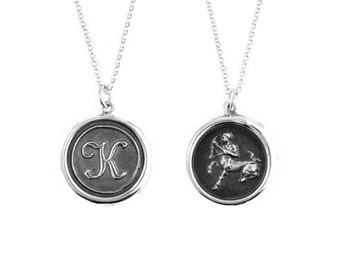 Double Sided Initial and Zodiac Wax Seal Pendant- Sterling Silver Personalized Custom Necklace