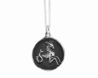 Capricorn Zodiac Coin Pendant
