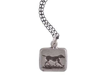 LOYAL & TRUE - Dog and Mirror - Double Sided Intaglio Pendant