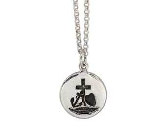 FAITH HOPE LOVE- Cross, Anchor and Heart- Double Sided Intaglio Pendant