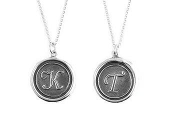 Initial Double-Sided Wax Seal Pendant- Sterling Silver Personalized Custom Necklace