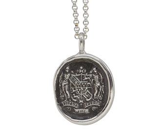 By Virtue & Faith- Angel Heraldic Crest Wax Seal Pendant